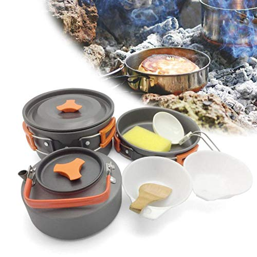 8pcs/Set Pots Spoon Set Cookware Bowl Pot Spoon for Outdoor Camping Hiking Backpacking Outdoor Tableware Picnic Accessorie