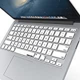 """iBenzer Basic Macaron Series Keyboard Cover Silicone Rubber Skin for Macbook Pro 13"""" 15"""" 17"""" (with or w/out Retina Display) Macbook Air 13"""" and iMac Wireless Keyboard - White CA-MKC01WH"""