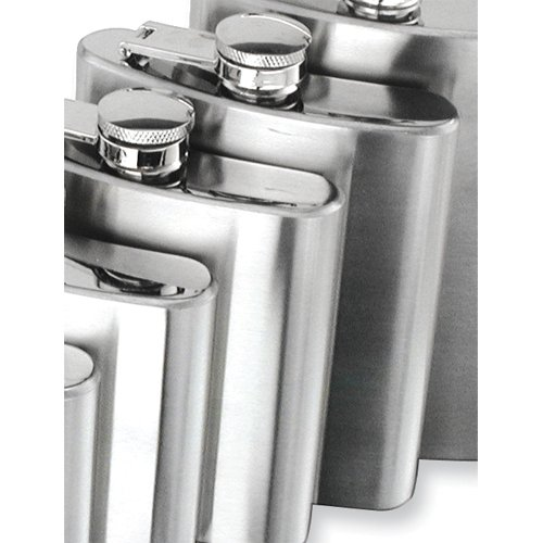 Brushed Stainless Steel Hip and Square Flask - Engravable Personalized Gift Item Home Garden Living Gifts