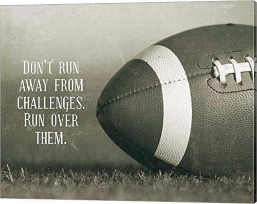 Don't Run Away from Challenges - Football Sepia by Sports Mania Canvas Art Wall Picture, Gallery Wrap, 20 x 16 inches