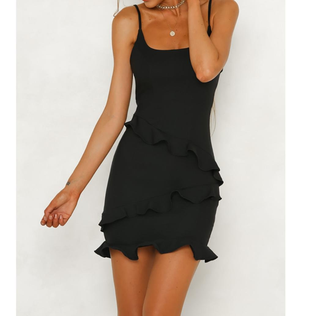3a9af44ebd62 Womens Summer Dresses Lady Sexy Spaghetti Strappy Sleeveless Flounce Skirt  Elegant Party Bodycon Dress  Amazon.co.uk  Clothing