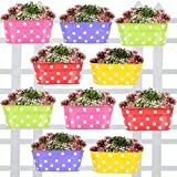 TrustBasket Dotted Oval Railing Planters (Magenta, Purple, Green, Red, Yellow) - Set of 10