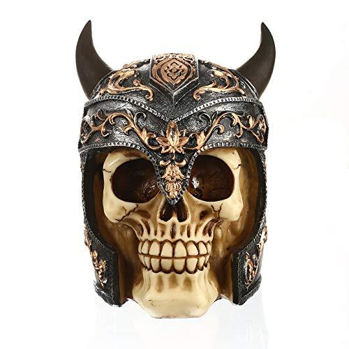 baidercor Halloween Viking Helmet Human Skull Decor Head Model -