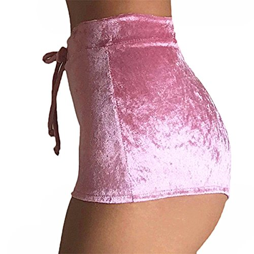 TININNA Mujer Terciopelo Pantalones Cortos Vintage Cortocircuitos Calientes Moda Cintura Alta Shorts rosa