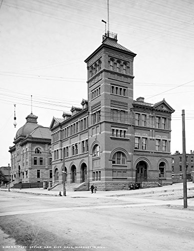 (1900-1906 Post Office and City Hall, Marquette, MI Vintage Photograph 8.5