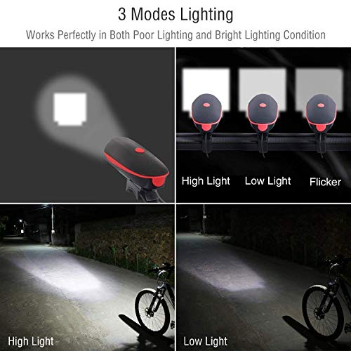 Fineed Bike Light Bicycle Horn USB Rechargeable, Super Bright Bicycle Headlight Waterproof,1200mAh Battery,3 Lighting Modes,5 Horn Sounds,120 Db, Fit All Bicycles, Road,Easy to Install &Release by Fineed (Image #6)