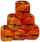 Custom & Unique {Standard Medium 16mm} 6 Ct Pack Set of 6 Sided [D6] Square Cube Shape Playing & Game Dice w/ Rounded Corner Edges w/ M16 Assault Rifle on Number 1 One Design [Orange & Black]