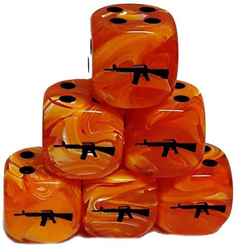 Custom & Unique {Standard Medium 16mm} 6 Ct Pack Set of 6 Sided [D6] Square Cube Shape Playing & Game Dice w/ Rounded Corner Edges w/ M16 Assault Rifle on Number 1 One Design [Orange & Black] by mySimple Products