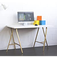 White Wood 47x28 Computer Desk , Work Station , Drawing Table with 2 Steel Crosscut Trestle Legs (47 Inch, Gold Leg)