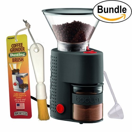 Bodum BISTRO Burr Grinder, Electronic Coffee Grinder with Continuously Adjustable Grind, Brushtech Coffee Grinder Dusting Brush & One-Tablespoon Plastic Clever Scoop Bundle (Black) by Bodum
