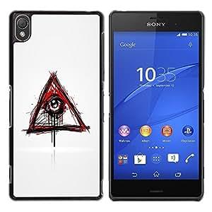 LECELL -- Funda protectora / Cubierta / Piel For Sony Xperia Z3 D6603 / D6633 / D6643 / D6653 / D6616 -- Evil Bleeding Eye Illuminati --