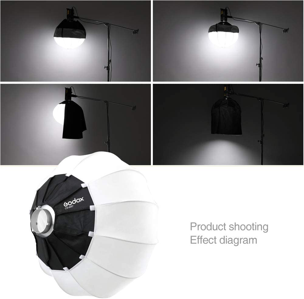 Godox 25.5Inch 65CM Lantern Softbox Soft Light Modifier for Aputure 300D Mark II 120D Godox SL-60W SL150W II FV150 AD300PRO AD400PRO AD600BM VL150 VL300 and Other Bowens Mount Light