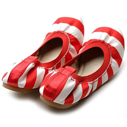 Red Cute Flat Color Shoe Comfort Women's Ollio Multi Ballet qT8I6wwg