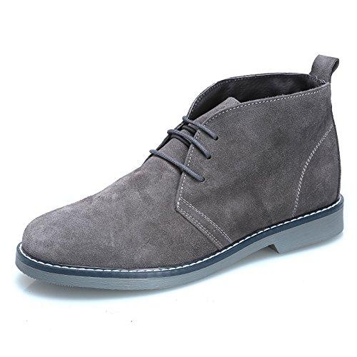 MForshop Scarpe Uomo Scarponcino camoscio para Shoes Polacchino Vera Pelle 1312 Grigio