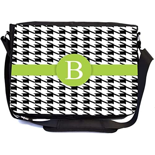 "Rikki Knight Letter ""B"" Lime Green Houndstooth Monogram Design, Messenger School Bag (mbcp-cond46252)"