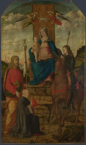 The Museum Outlet - Giovanni Martini da Udine - The Virgin and Child with Saints, Stretched Canvas Gallery Wrapped. -