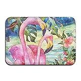 BINGO BAG Pink Flamingos Indoor Outdoor Entrance Printed Rug Floor Mats Shoe Scraper Doormat For Bathroom, Kitchen, Balcony, Etc 16 X 24 Inch