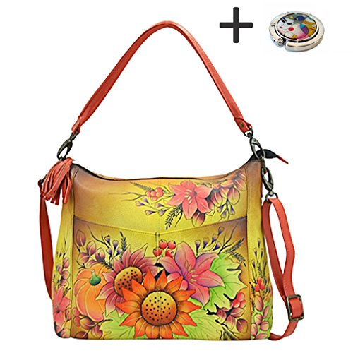 Bouquet Purse on Zip with Handbag Real Leather Floral Anna Purse Painted Anuschka Hobo Holder Design Hand Convertible 2 nYTwWqCP