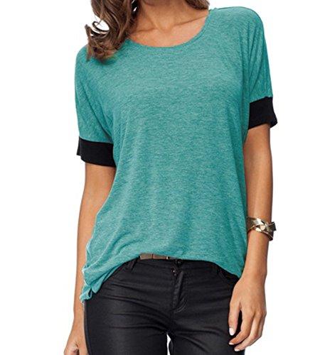 en Purecolor Comfy Loose Fit Short Cut Out Sleeve Cotton T-Shirt Blue-XXL (Cut Out Solid Cotton)