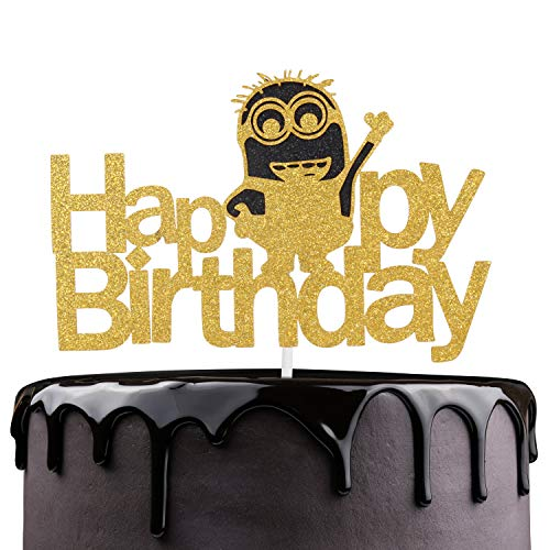Despicable Me Party Theme (Happy Birthday Cake Topper - Gold Glitter Minions Cake Décor - Celebrate Baby Shower Child Birthday Party Supplies - Adorable Minions Despicable Me Theme Party)
