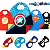 LAEGENDARY Dress Up Superhero Toys – 4 Superhero Costume Kids – Super Hero Capes & Masks for Boys & Girls – Superhero Party Supplies - Costumes with Glow Logo
