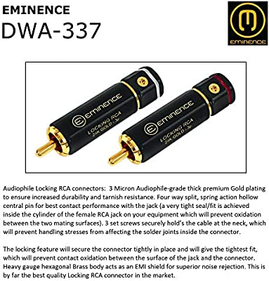 1 Foot Directional Quad High-Definition Audio Interconnect Cable Pair Custom Made by WORLDS BEST CABLES Using Mogami 2534 Wire and Eminence Gold Locking RCA Connectors
