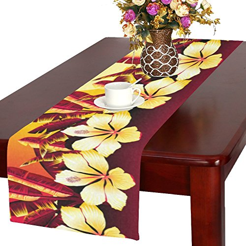 (InterestPrint Custom Cotton Linen Long Table Runner Golden Sunset With Hibiscus Flowers table cloth for Office Dining Home Decor 16 X 72)