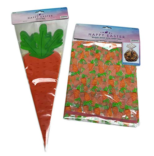 Happy Easter 2 Pack Carrot Themed Basket Cellophane Bags & 20 Pack Carrot Shaped Cello Treat Bags Spring Gift Packaging Wrap Basket Bundle