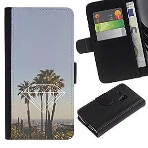 Billetera de Cuero Caso del tirón Titular de la tarjeta Carcasa Funda del zurriago para Samsung Galaxy S3 MINI NOT REGULAR! I8190 I8190N / Business Style diamond Miami California la palm trees