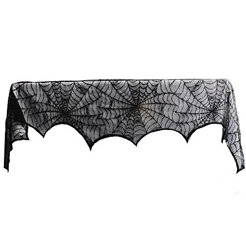 [Juenana Black Lace Spiderweb Fireplace Mantle Scarf Cover Halloween Decoration] (Spider Web Eye Makeup)