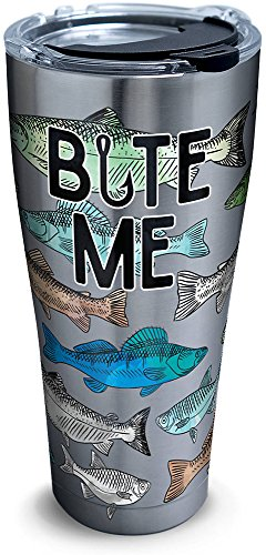 Tervis 1278811 Bite Me Bait Stainless Steel Tumbler with Clear and Black Hammer Lid 30oz, Silver