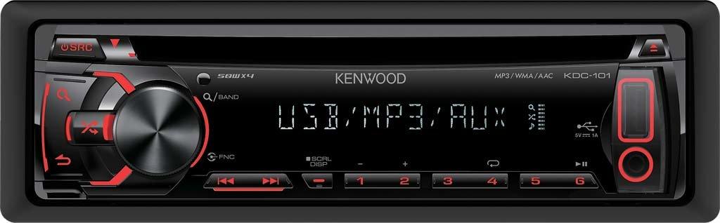 R/écepteurs multim/édias de Voiture Noir, 200 W, 4.0 canaux, CD-R,CD-RW, 105 DB, Num/érique Kenwood Electronics KDC-101 200W Noir r/écepteur multim/édia de Voiture