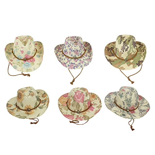 Pack of 6 Paper Straw Cowgirl Hat Wholesale Environmentally Friendly