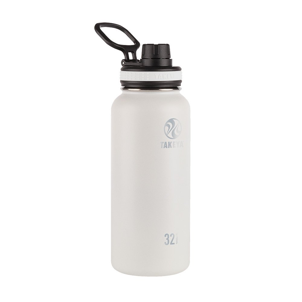 Takeya 50012 Originals Vacuum-Insulated Stainless-Steel Water Bottle, 32oz, White, 32 oz,