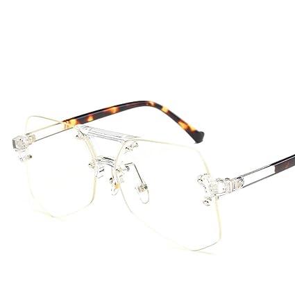 e370547f96 Sugoishop Personalidad Gafas de Sol sin Marco Transparentes para Mujeres  Hombres Unisex Irregular de Gran tamaño