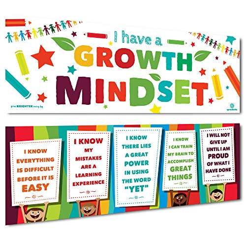 Sproutbrite Classroom Banner Decorations for Educational & Motivational Growth Mindset for Students - 2 Banners - 13''x39'' Each by Sproutbrite