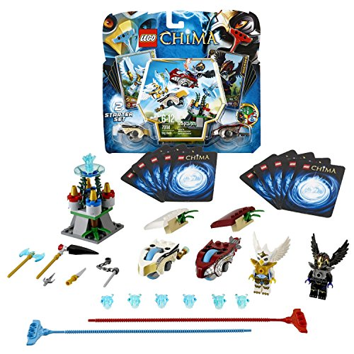 Lego Year 2013 Legends of Chima Series Game Set #70114 - SKY JOUST with Canyon Peak, Ramps, Raven and Eagle Speedorz, 2 Ripcords, 2 Power-Upz, 12 CHI and 10 Game Cards Plus RAWZOM and ERIS Minifigures (Total Pieces: (Joust Set)