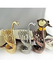 Lsaardth Zilveren 6-delige koffielepels Dessertlepelset, decoratieve ijslepel gouden serveerlepel zilverwerk dessert bestek met zwaan lepelhouder voor koffiebar