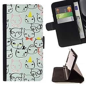 Momo Phone Case / Flip Funda de Cuero Case Cover - Cat Faces Gafas Arte Dibujo minimalista - LG G4c Curve H522Y (G4 MINI), NOT FOR LG G4