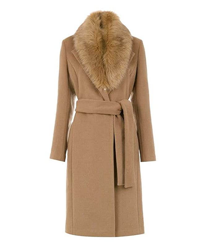 1940s Coats & Jackets Fashion History Begonia.K Womens Belted Trench Coat with Detachable Faux Fur Collar Slim Fit Long Pea Coat Jacket $78.99 AT vintagedancer.com