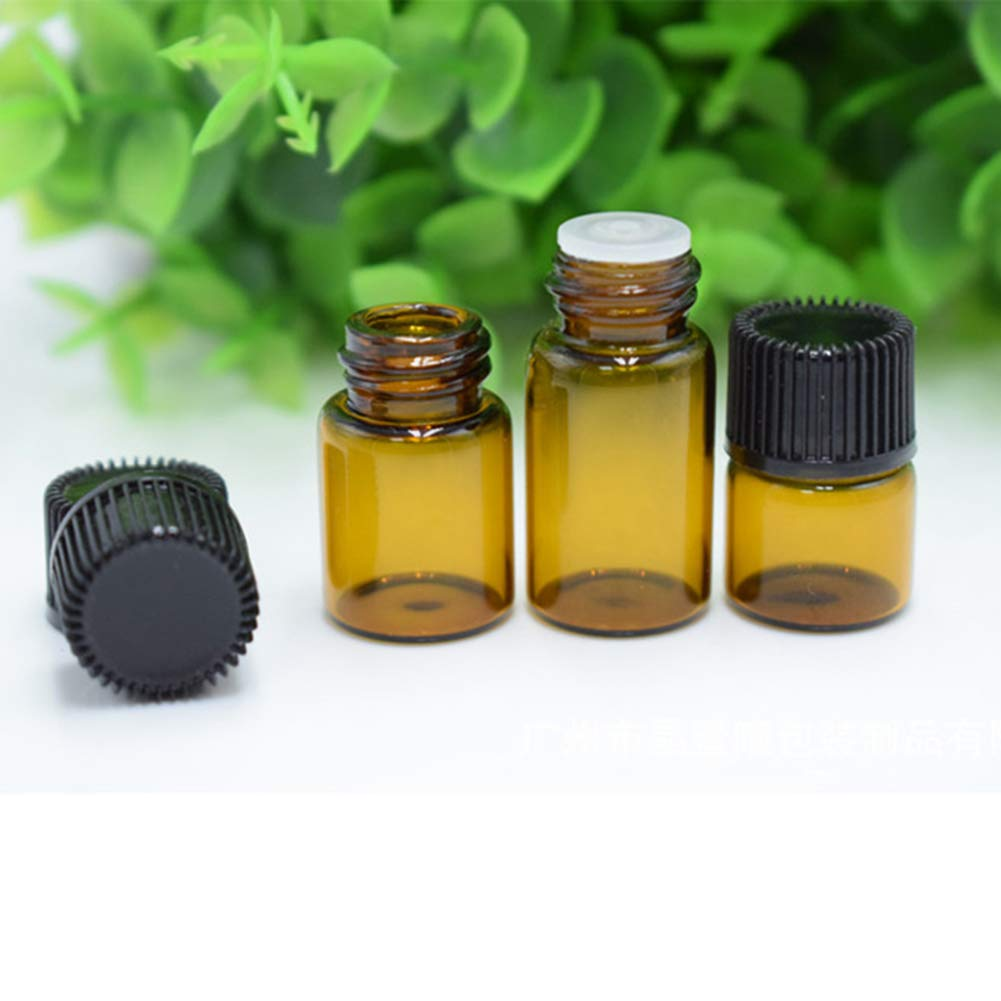 1ml, Amber 30 Pcs Mini Essential Oil Bottles Amber Glass Sample Vials Bottles with Orifice Reducer and Black Caps