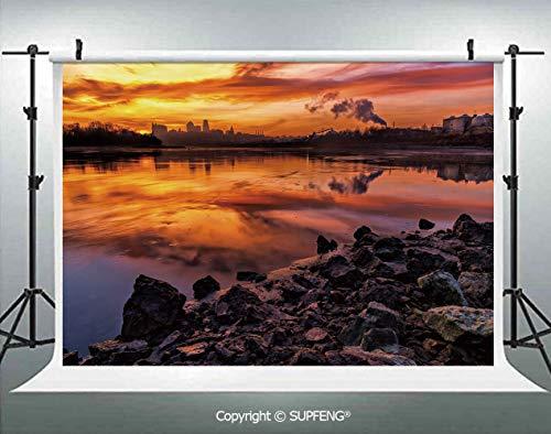 Photography Backdrops USA Missouri Kansas City Scenery of a Sunset Lake Nature Camping Themed Art Photo 3D Backdrops for Photography Backdrop Photo Background Studio Prop -