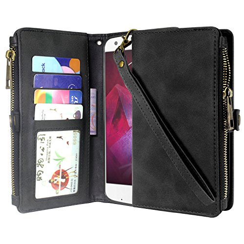 Moto Z2 Force Case, Linkertech Premium Leather Flip Zipper Wallet Case Cover with Stand Feature & Card Holder & Wrist Strap for Motorola Moto Z2 Force (2017) (Black)