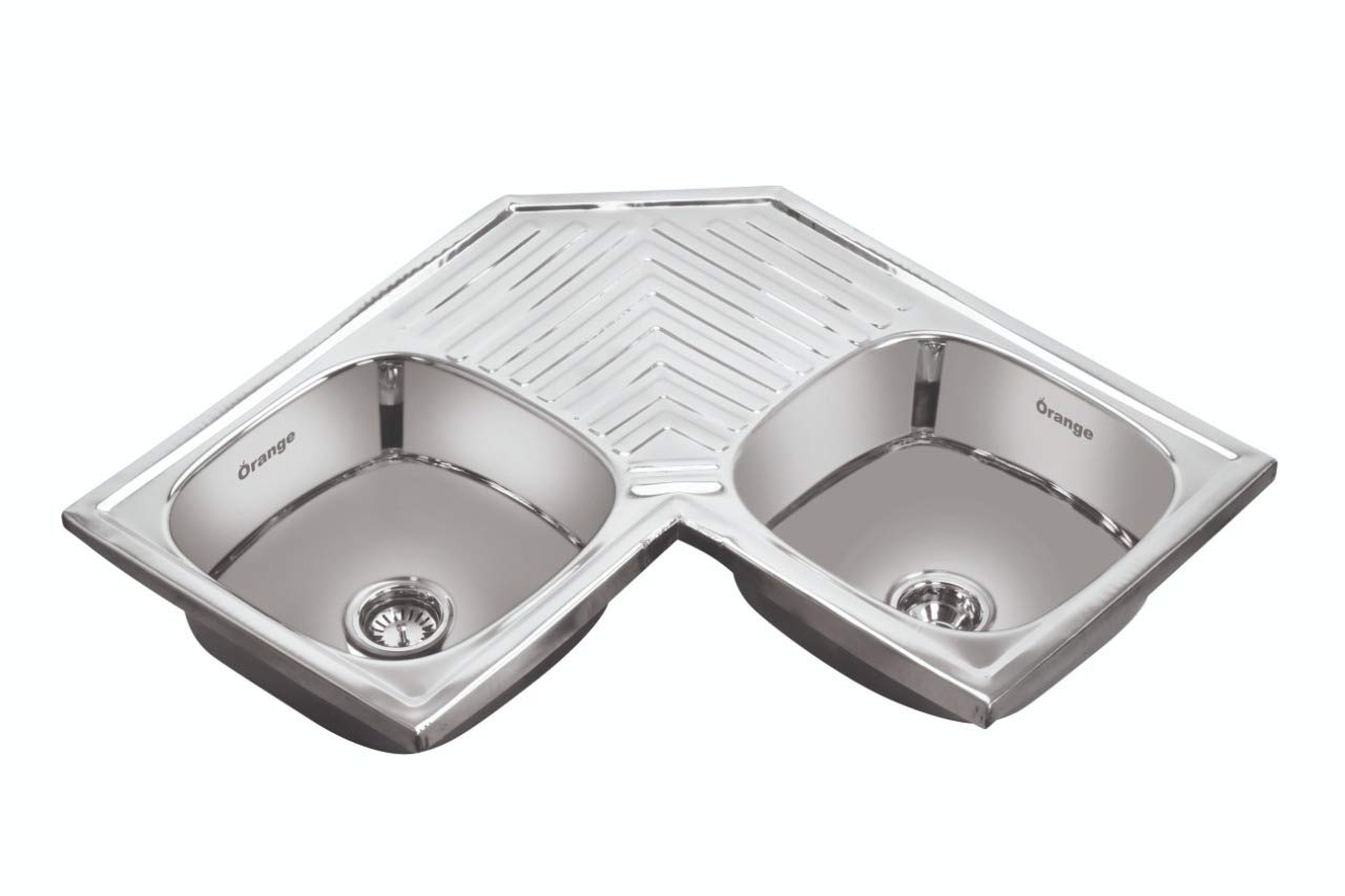 Orange Double Bowl Corner Kitchen Sink Silver Chrome Finish Amazon In Home Improvement