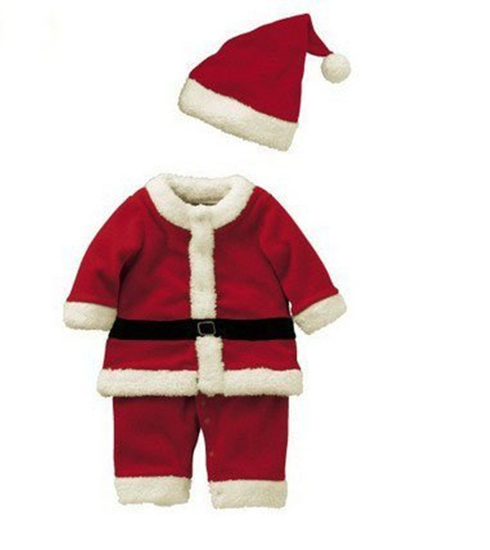 Anik Sunny Baby Boys Christmas Santa Suit with Hat,Baby Party Outfit Santa Clause Costume Christmas Outfit Set (S(for Height 80CM))