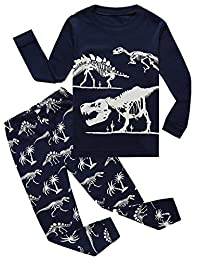 Boy Pajamas 100% Cotton Dinosaur Toddler Pjs Sleepwear Kids Clothes Pant Set