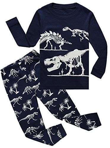 Boy Pajamas Cotton Dinosaur Toddler Pjs Sleepwear Kids Clothes T-Shirt Pant Set ()
