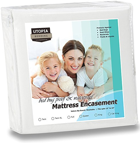 Utopia Bedding Waterproof Zippered Mattress Encasement - Bed Bug Proof Mattress Cover - Queen (Bedding Queen Mattress)