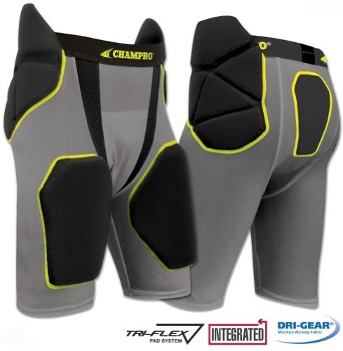 TRI-FLEX Integrated Football Girdle with Built in Hip-Tail and Thigh Pads