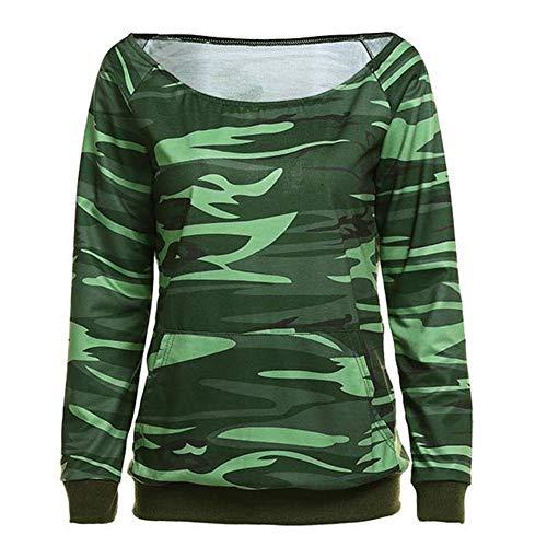 CactusAngui Camisa de Manga Larga con Estampado de Camuflaje sin Hombros caídos de Las Mujeres Casual Top Holgado Green M